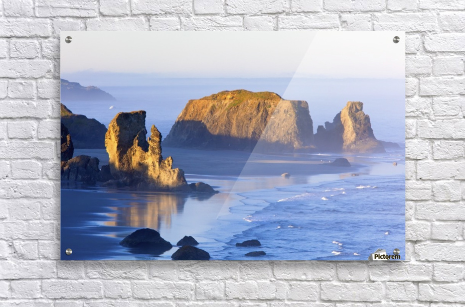 Morning Light Adds Beauty To Fog Covered Rock Formations At Bandon State Park; Bandon, Oregon, United States of America  Acrylic Print