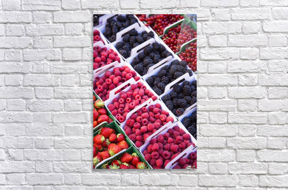 Berries in boxes at a food market;Sault vaucluse provence france  Acrylic Print