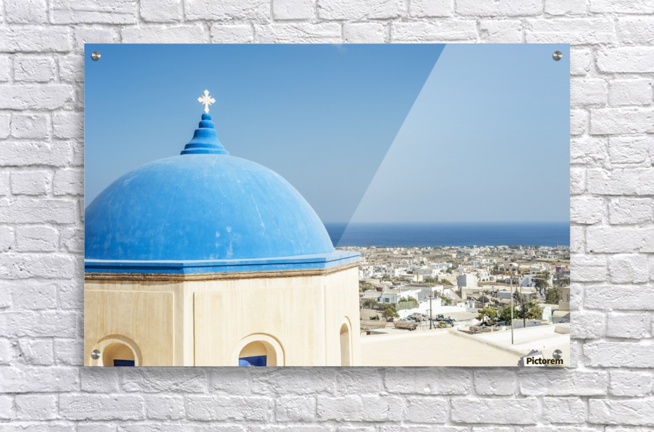 Church with a blue dome roof and view of the Aegean sea; Megalochori, Santorini, Greece  Acrylic Print