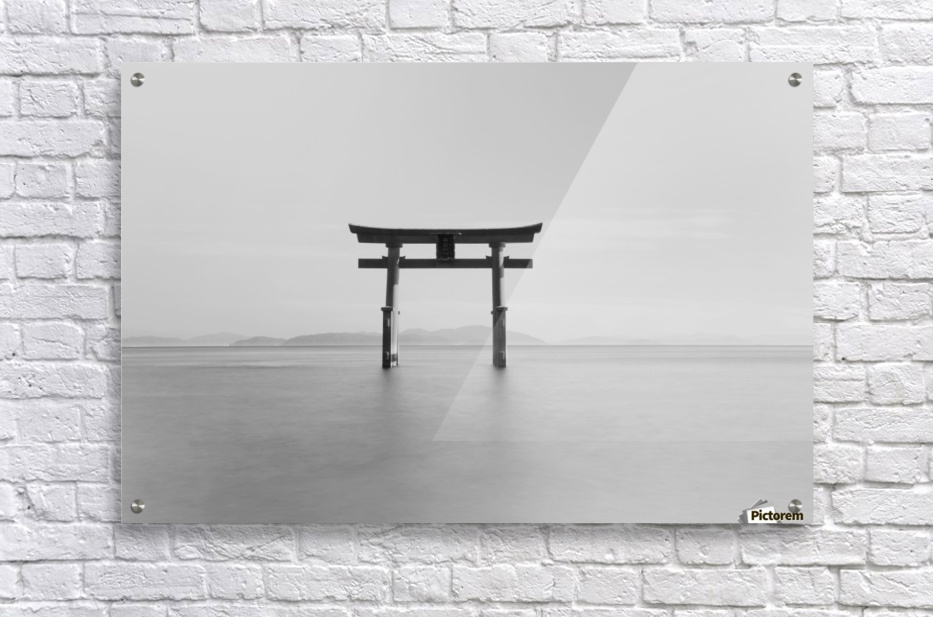 Black and white image of a floating shrine on a lake; Takashiyama, Shiga, Japan  Acrylic Print