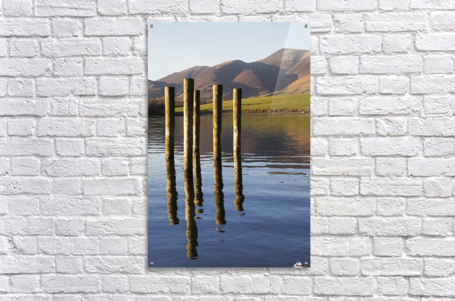 Wooden posts reflected in tranquil after with mountains the the background; Keswick, Cumbria, England  Acrylic Print