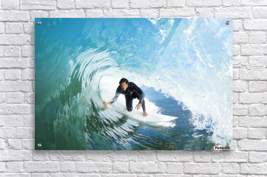 Surfer On Blue Ocean Wave  Acrylic Print