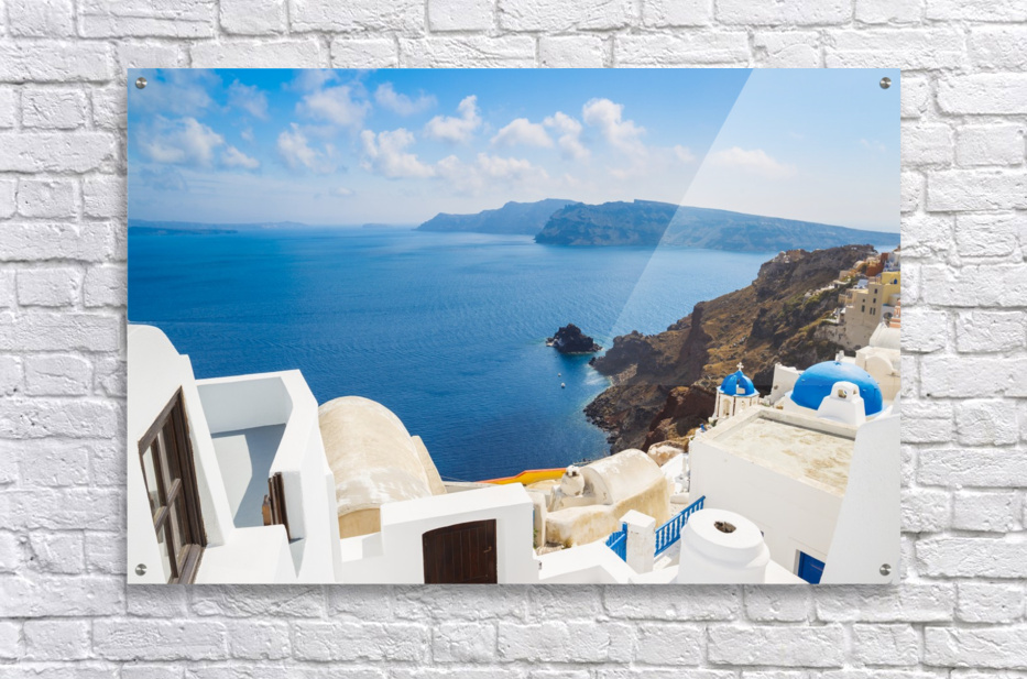 Santorini Island, Greece, Beautiful View of Blue Ocean and Traditional Dome Church Architecture  Acrylic Print