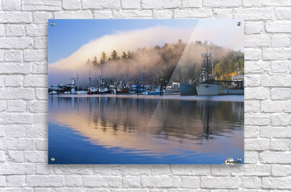 Boats dock at Winchester Bay; Oregon, United States of America  Acrylic Print
