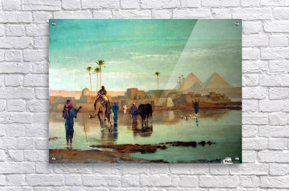 Crossing the river with the camels  Acrylic Print
