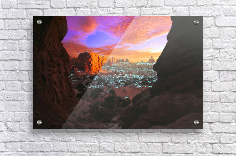 Rocky Buttes Viewed Through Canyon  Acrylic Print