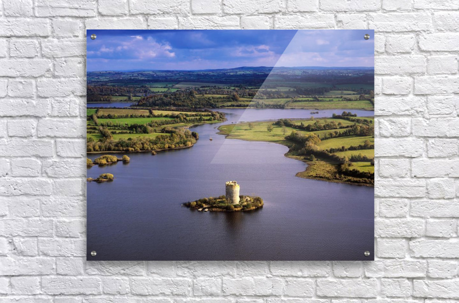 Cloughoughter Castle, Co Cavan, Ireland; Aerial View Of Lough Oughter And 13Th Century Castle Built On The Possible Site Of A Crannog  Acrylic Print