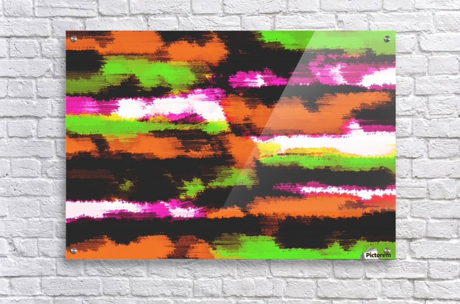 orange black pink green grunge painting texture abstract background  Acrylic Print