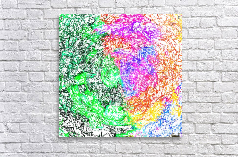 psychedelic splash painting abstract in pink purple green blue orange and yellow  Acrylic Print