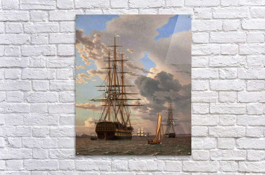 A Russian ship of the Line Asow and a Frigate at Anchor in the Roads of Elsinore  Acrylic Print