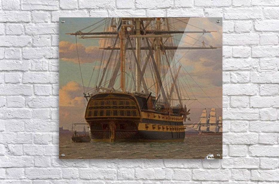 The Russian ship of the line Asow and a frigate at Anchor in the Roads of Elsinore  Acrylic Print