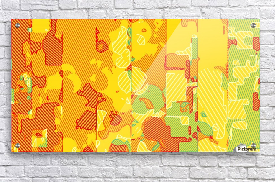 graffiti drawing abstract pattern in yellow brown and blue  Acrylic Print