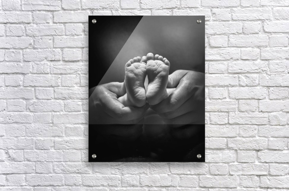 Adult Hands Holding Bare Baby Feet  Acrylic Print