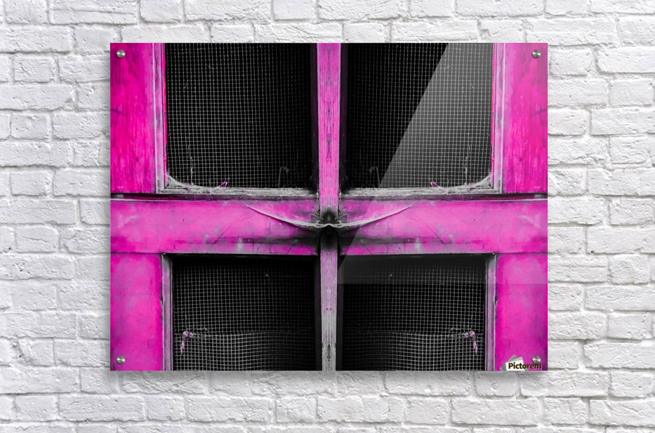 old pink wooden door abstract background  Acrylic Print