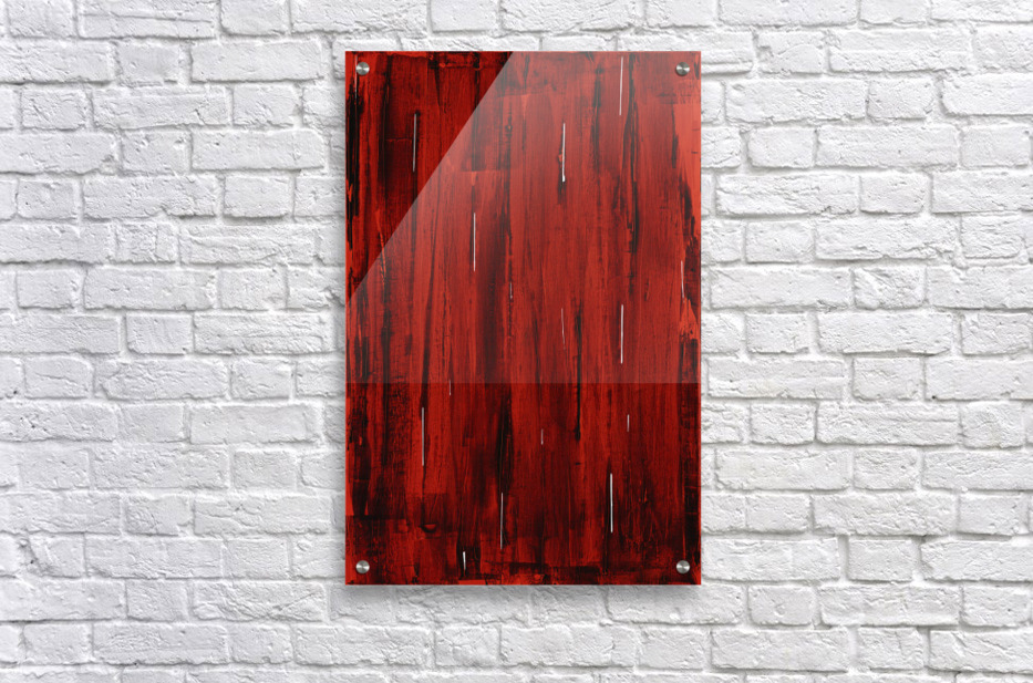 Rain, Abstract Painting In Red And Black (Acrylic Painting).  Acrylic Print