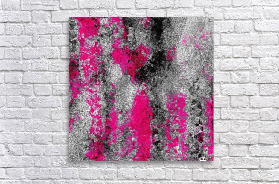 vintage psychedelic painting texture abstract in pink and black with noise and grain  Acrylic Print