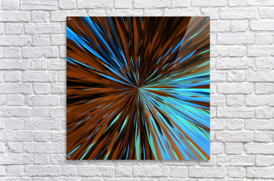psychedelic splash painting abstract pattern in brown and blue  Acrylic Print