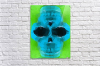psychedelic skull art geometric triangle abstract pattern in blue and green  Acrylic Print