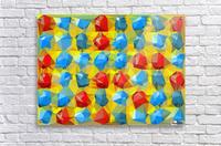 geometric polygon abstract pattern yellow blue red  Acrylic Print