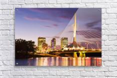 City Skyline, Red River And Provencher Bridge At Dusk, Winnipeg, Manitoba  Acrylic Print