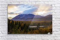 Autumn sunset overlooking the area known as 'Black Rapids' in the Alaska Range along the Richardson Highway; Alaska, United States of America  Acrylic Print