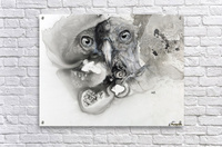 Illustration of a bird's face surrounded by mottled textures and abstract  Acrylic Print