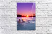 Sun flare glowing over a winter landscape; Trapper Creek, Alaska, United States of America  Acrylic Print
