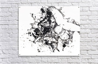 Black and white illustration of birds and human faces  Acrylic Print