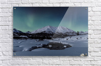 Aurora Borealis (Northern Lights) dance above Idaho Peak and the Little Susitna River at Hatcher Pass in winter, South-central Alaska; Alaska, United States of America  Acrylic Print
