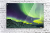Aurora borealis swirls over mountains within Denali National Park on a very cold winter night; Alaska, United States of America  Acrylic Print