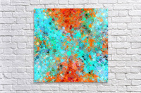 psychedelic geometric circle pattern and square pattern abstract in orange and blue  Acrylic Print