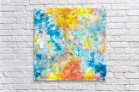 psychedelic geometric triangle abstract pattern in blue pink yellow  Acrylic Print