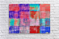 square plaid pattern texture abstract in red blue pink purple  Acrylic Print