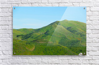 green field and green mountain with blue sky  Acrylic Print