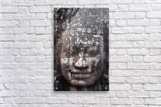 A face sculpture on a stone wall at angkor wat;Cambodia  Acrylic Print