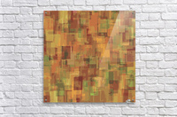 vintage psychedelic geometric square pattern abstract in brown and green  Acrylic Print