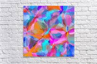 circle pattern abstract background in pink orange and blue  Acrylic Print
