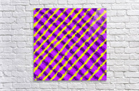 line pattern painting abstract background in purple and yellow  Acrylic Print