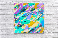 camouflage pattern painting abstract background in green blue purple yellow  Acrylic Print