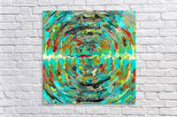 psychedelic circle pattern painting abstract background in green blue yellow brown  Acrylic Print