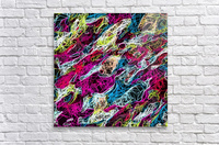 psychedelic rotten sketching texture abstract background in pink blue yellow  Acrylic Print