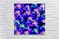 circle pattern abstract background with splash painting abstract in blue and pink  Acrylic Print