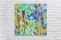 green maple tree leaf with blue and yellow abstract background  Acrylic Print
