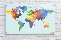 Bright Watercolor Map Of The World  Acrylic Print