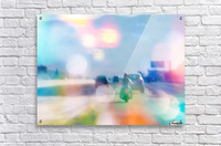 car and motorcycle on the road in the city with bokeh light  Acrylic Print