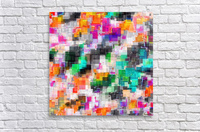 psychedelic geometric square pixel pattern abstract in orange green pink blue  Acrylic Print