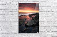 Sunset over rocky coastline  Acrylic Print
