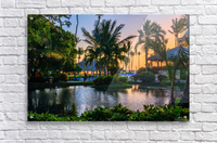 Multicolored tropical dawn with pond and palm trees, white pelican  Acrylic Print
