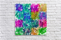 psychedelic geometric square pixel pattern abstract background in blue green yellow pink purple  Acrylic Print
