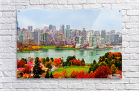 colorful autumn landscape of a modern city by the river  Acrylic Print